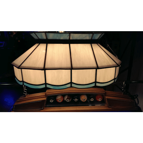 blue and white leaded glass pool table light